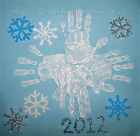 snowflakes crafts for handprint snowflake winter craft snow and glitter