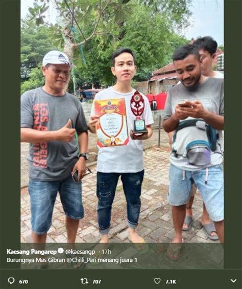 kaesang pamer foto gibran juara  lomba burung netizen