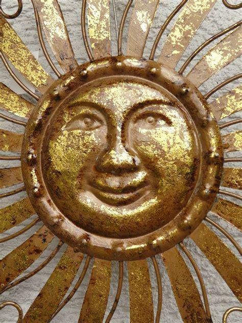 gartendeko sonne metall sonne metall braun gold wanddekoration wandbild gartendeko