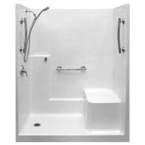 One Fiberglass Shower Stall With Seat by Fiberglass Shower Stalls Kits Showers The Home Depot