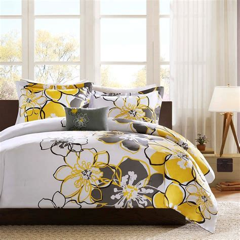 yellow gray and white bedding yellow and gray bedding that will make your bedroom pop