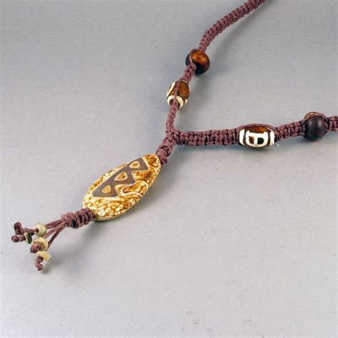 Handmade Hemp Jewelry - handmade brown hemp necklace with tibetan agate pendant by