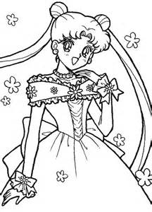 sailor moon usagi tsukino in wedding dress coloring page