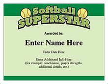 free softball certificate templates softball certificates free award certificates