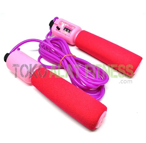 New Alat Fitness Jym Lompat Tali Tali Skipping Speed Rope Fitness skip soft with counter pink toko alat fitness