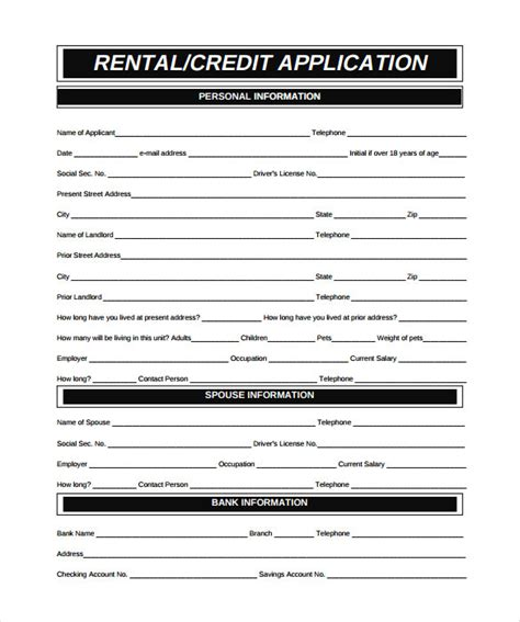 rental credit application template rental application 18 free word pdf documents
