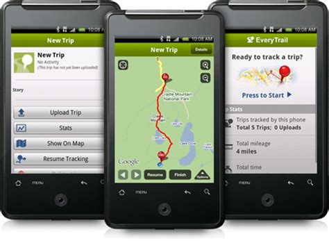 android gps app android travel app android gps tracking everytrail