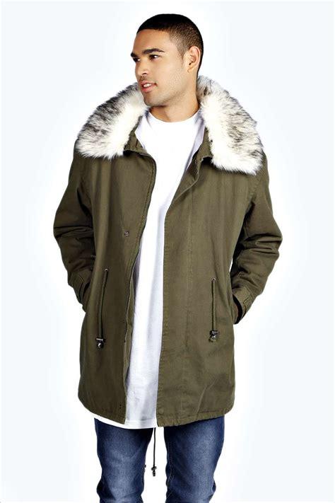 Jaket Parka Canvas Premium Fullblack boohoo mens fishtail cotton canvas parka jacket with faux