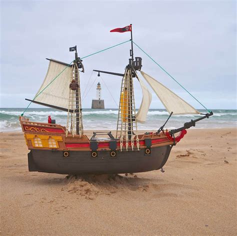 toy boat launched in scotland toy pirate ship sails from peterhead to denmark uk