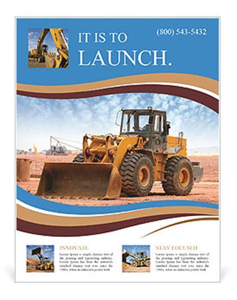 Bulldozer On A Building Site Flyer Template Design Id 0000009350 Smiletemplates Com Heavy Equipment Website Template