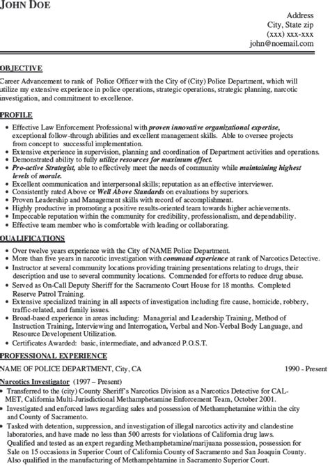 Resume Templates Doe Officer Resume Exle Officer Resume