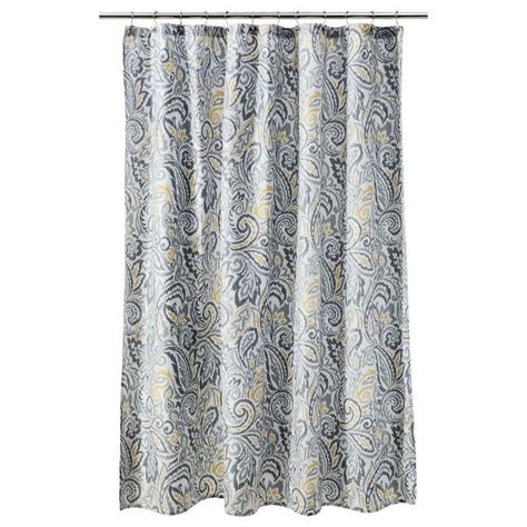 threshold curtains threshold paisley shower curtain yellow