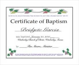 Generic Certificate Templates Sample Baptism Certificate 19 Documents In Pdf Word Psd