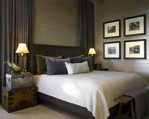 charcoal grey bedroom ideas cabin style bedroom with charcoal gray tufted bed olive