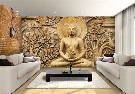 Beautiful Wallpaper Design For Home Decor Buddha Wooden Carving Custom Wallpaper Mural Print By Jw