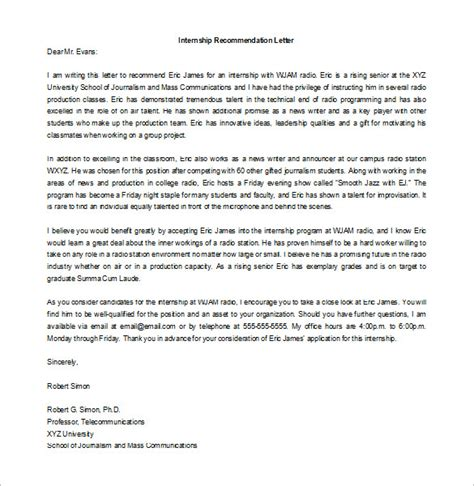 Recommendation Letter Template Intern 8 Letters Of Recommendation For Internship Free Sle Exle Format Free
