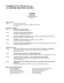 Exle Of Academic Resume by Academic Cv Template Exle