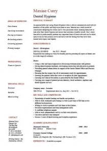 Dental Hygiene Resume Sle by Dental Hygiene Resume Hygienist Template Exle Description Healthcare Expertise Filling