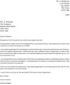 Nursing Resignation Letter by Resignation Letter Exle Cover Letters And Cv Exles