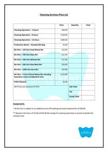 cleaning price list template 8 cleaning price list templates free word pdf excel