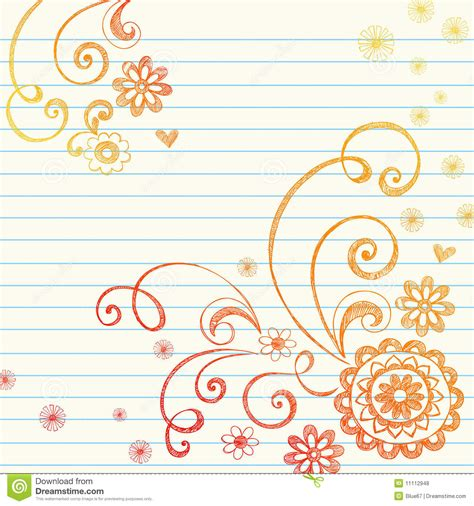 free paper doodle theme flowers notebook doodle on graph paper stock vector