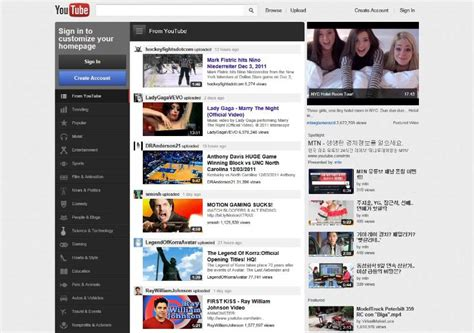 layout youtube 2011 youtube reved their design by adding a homepage and more