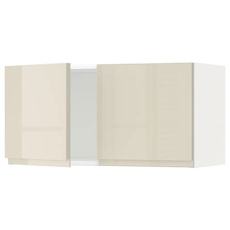 High Gloss White Kitchen Cabinet Doors Metod Wall Cabinet With 2 Doors White Voxtorp High Gloss Light Beige 80x40 Cm Ikea