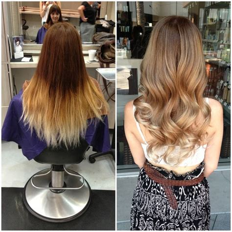 before and after hair color pictures before and after of a color correction balayage by
