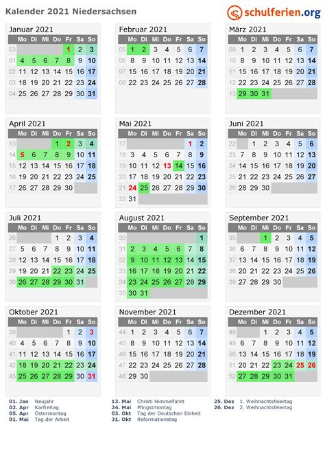 kalender  ferien niedersachsen feiertage