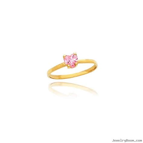 14k gold 4mm pink cz baby ring rings