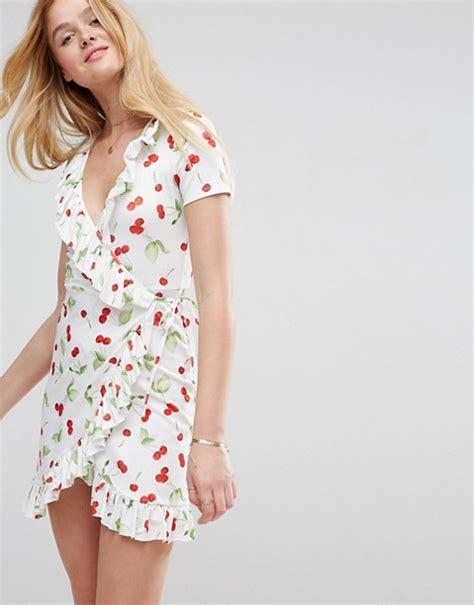 Cherry Dress asos asos mini frill wrap dress in cherry print