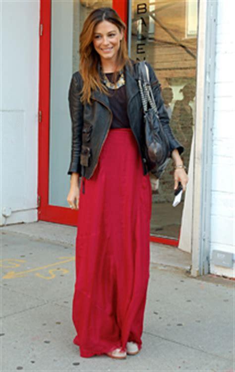 maxi skirt leather jacket bnl