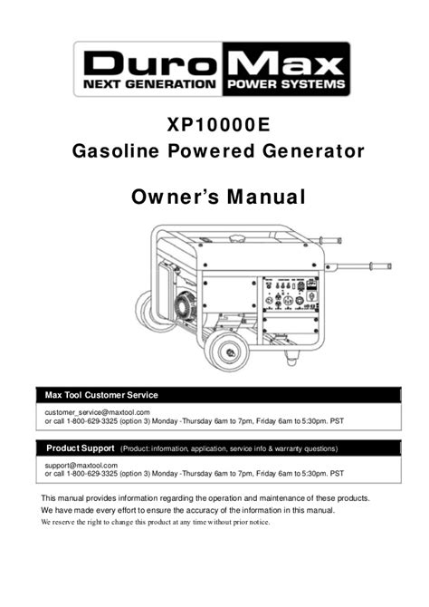 servicerepair manuals ownersusers manuals schematics duromax xp10000e generator owners manual