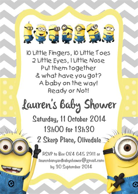 Invitations For Baby Showers Minion Baby Shower Invitation Template