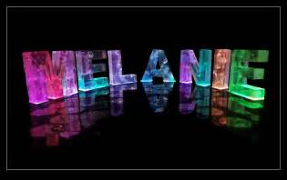 the name melanie in 3d coloured lights