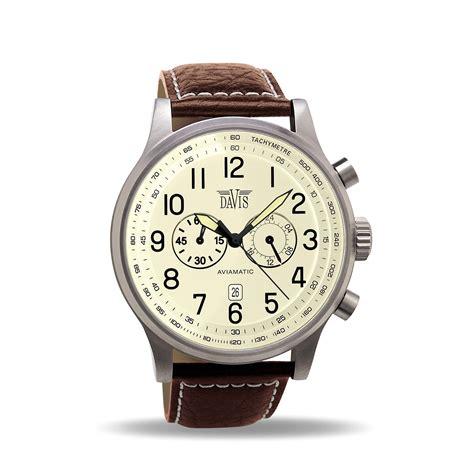 montre aviateur homme vintage chronographe etanche 50m bracelet cuir marron davis 0453