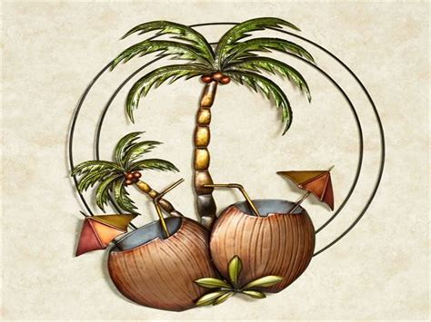 tropical metal wall decor bedroom decorative accessories palm tree metal wall