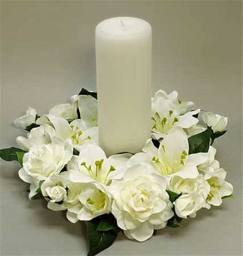 candle ring centerpieces artificial silk and gardenia candle ring wedding