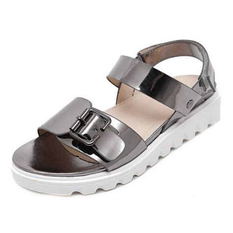 metallic chrome white sole buckle sandals