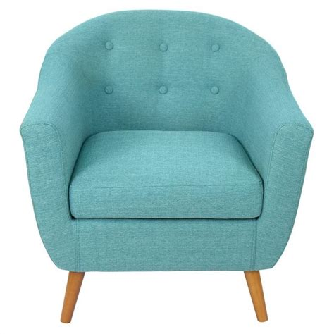 blue barrel chair lumisource rockwell tufted accent barrel chair in blue