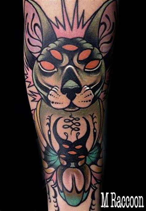 tattoo cat neo traditional neo traditional cat tattoo manu raccoon neo tradicional