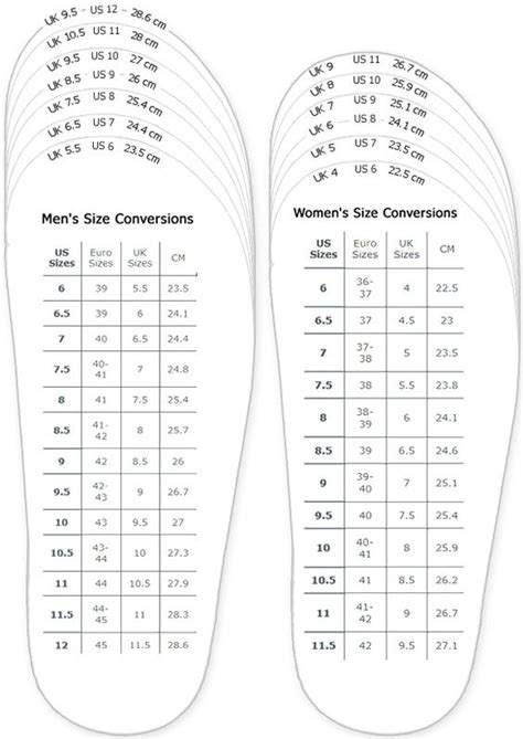 shoe size chart ee shoes measurement chart for printable adult men and woman