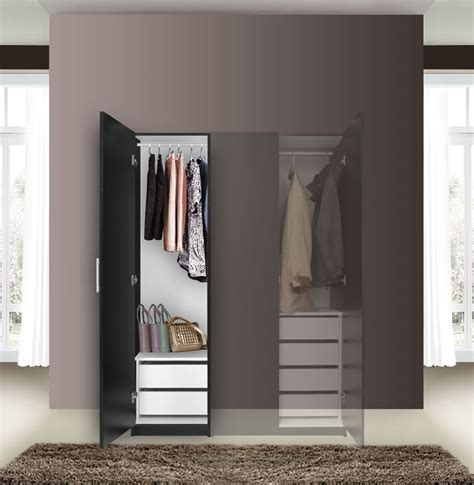 Slim Wardrobe Closet by Alta Narrow Wardrobe Closet Left Door 2 Interior