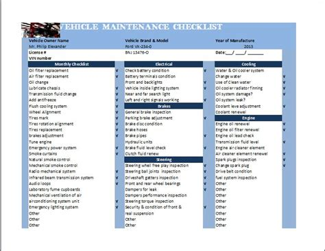 Vehicle Service Checklist Template by General Vehicle Maintenance Checklist Template Word