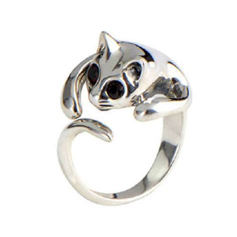 silver plated kitten cat ring pluto99