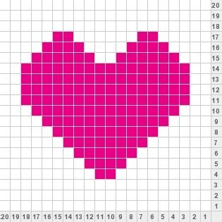 heart graph pattern for knitting pink 20x20 heart knitting charts and motifs pinterest
