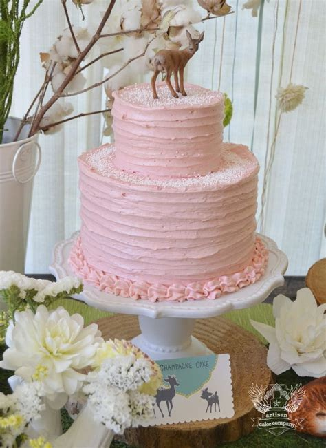 A Simple Pink Cake For A Woodland Themed  Ee  Birthday Ee    Ee  Party Ee   Or