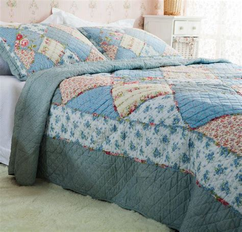 Blue Quilted Bedspread Country Floral Blue Patchwork Quilted Cotton