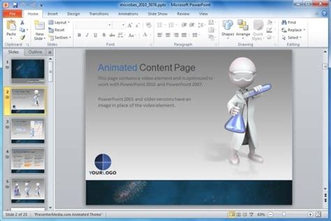 animated microbes template  powerpoint