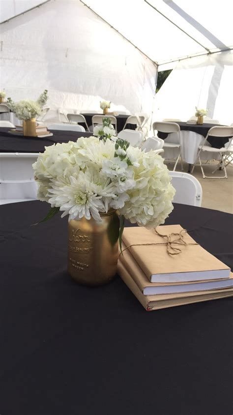 graduation black and gold table centerpiece black and gold graduation